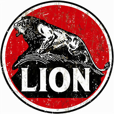 Vintage Looking Lion Gasoline And Motor Oil Station Reproduction Metal Sign