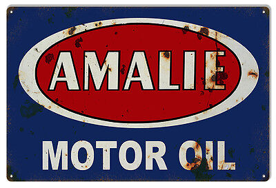 """Reproduction Red And Blue Amalie Motor Oil Metal Sign 12""""x18"""""""