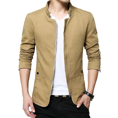 2017 NEW Men's Jacket Slim Fit Collar Cotton Coat Fashion Casual Outwear Jacket
