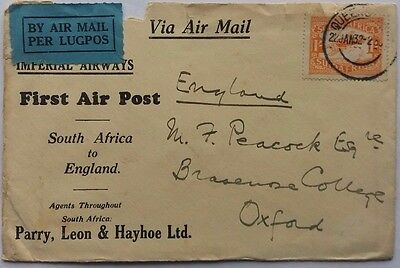 South Africa 1932 Imperial Airways Flight Cover To England At One Shilling Rate