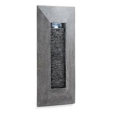 Modern Wall Fountain Led Lightning Water Pump Natural Stone Look Mount Indoor