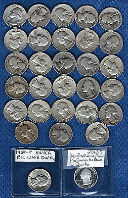 Lot of 30 Silver Washington Quarters 1930s-1960s w 1959 BU + 2013-S Proof *SALE*