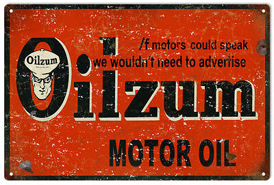 Oilzum Motor Oil Vintage Look  Gas Station Reproduction Metal Sign