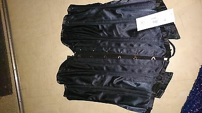 Black size 30 boned corset new with tags satin feel
