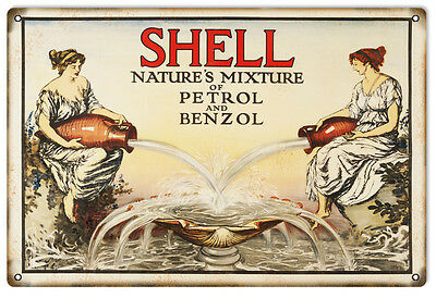 """Reproduction Natures Mixture Shell Motor Oil Metal Sign. 12""""x18"""""""