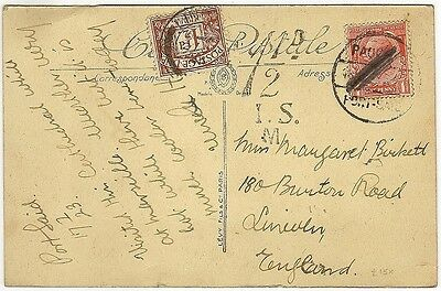 GB Postage Due 1 1/2d on 1923 PAQUEBOT PORT SAID postcard