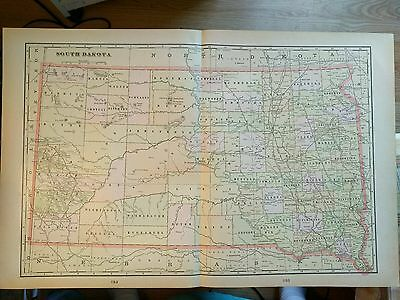 "SOUTH DAKOTA Map 1901 Antique Original Crams 22.5""x14.5"" Vintage Lead Old MAPZ41"