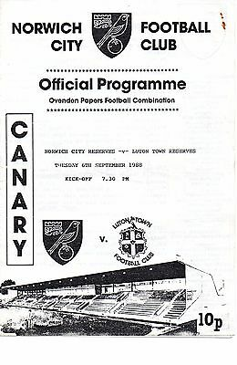 Norwich City Reserves 1988/89 v Luton Town Reserbes