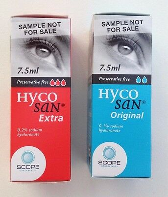 HYCOSAN EXTRA  & ORIGINAL 7.5ml eye drops x2 preservative free