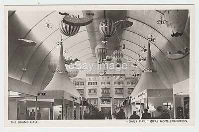 Daily Mail Ideal Home Exhibition Olympia Hall 1955 Hot Air Balloons RP postcard