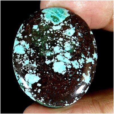 49.75Cts. UNTREATED !! 100% NATURAL TIBET TURQUOISE OVAL CABOCHON LOOSE GEMSTONE