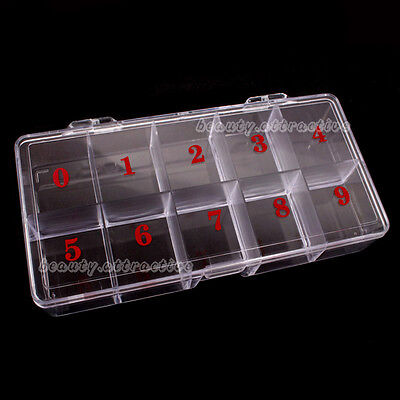 Nail Art Clear Plastic Storage Box Case Tool For Makeup Nails Tips Decoration