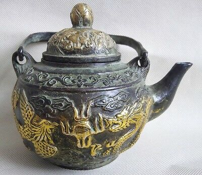 Collectible China Old Handwork Bronze Carved Gilded Dragon Phoenix Tea Pot