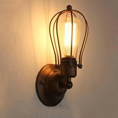 LED New Black Cage Ceiling Vintage Retro Chandelier Wall Light Ceiling Fitting