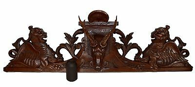 French Black Forest Large Hand Carved Pediment, Stag Griffin, Cornice Door Top