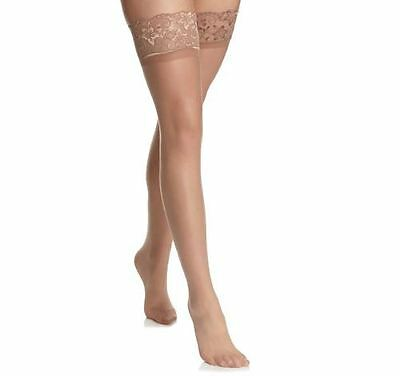 Large Lace Top Silk Touch Hold Ups 7 Denier Stockings Natural Tan BNWT Hosiery
