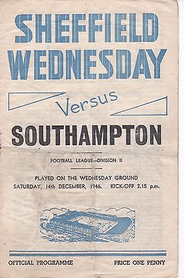 SHEFFIELD WEDNSDAY v SOUTHAMPTON ~ 14 DECEMBER 1946
