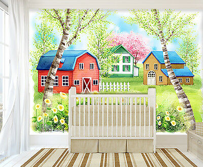 3D Flower Red House Wall Paper Murals Wall Print Decal Wall Deco AJ WALLPAPER