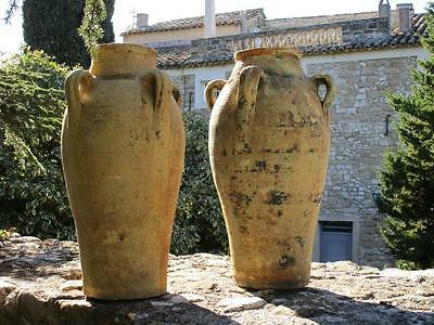 Two large antique French amphora garden pots with handles