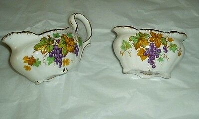 Vintage Royal Stafford china cream and sugar dishes Oregan Grapes