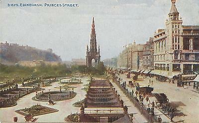 VINTAGE PRINCES STREET EDINBURGH POSTCARD - 1920's SCOTLAND SCOTTISH POSTCARD