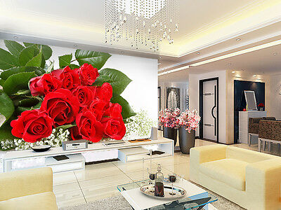 3D Red Rose Wall Paper Murals Wall Print Decal Wall Deco AJ WALLPAPE