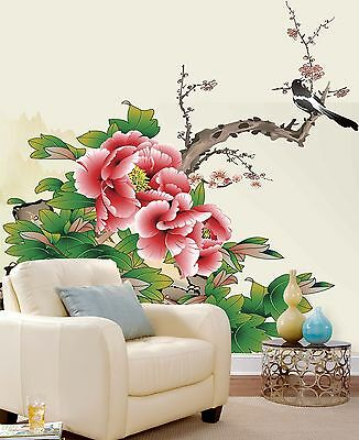 3D Peony Painted Wall Paper Murals Wall Print Decal Wall Deco AJ WALLPAPE