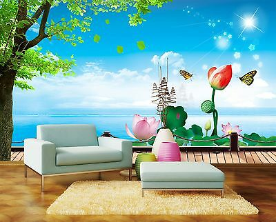 3D butterfly Lotus Wall Paper Murals Wall Print Decal Wall Deco AJ WALLPAPE