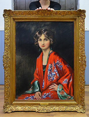 Fine Early 1900s Portrait Painting of Beautiful Young Debutante in a Red Kimono