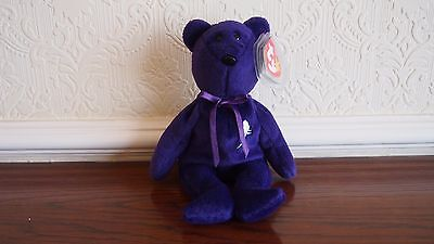 TY Beanie Baby Princess Diana bear, Made in Indonesia , PVCpellets no space RARE