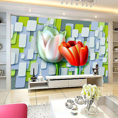 3D Tulip Painted Wall Paper Murals Wall Print Decal Wall Deco AJ WALLPAPE