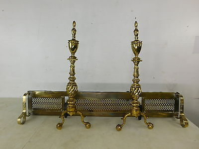 Vintage Antique 18c Style Brass Ball Claw Andirons & Fireplace Fender