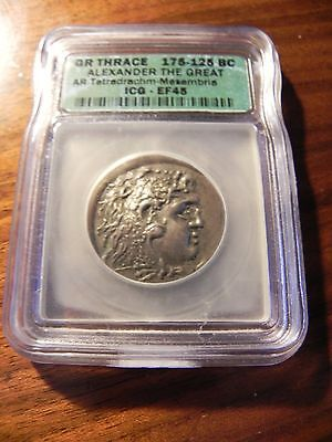 .  Greek Silver Tetradrachm coin of ALEXANDER  THE GREAT 175-125 BC ICG EF 45