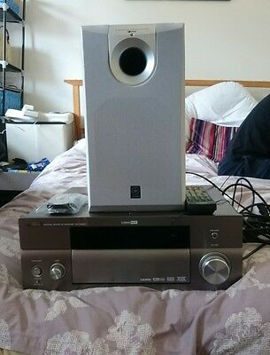 Yamaha RX-V1600 7.1 Channel Receiver And Yamaha SW-P130 Subwoofer,  2 Remotes