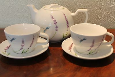 Lavender and dragonfly Teapot, cups and saucers.