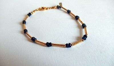 14K Gold And Sapphire Bead Bracelet With Heart Charm
