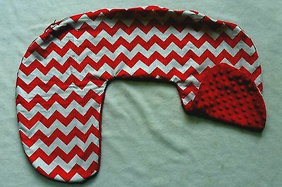 Red Chevron and Minky Dot Nursing Pillow Cover Fits Boppy  CHOICE OF MINKY