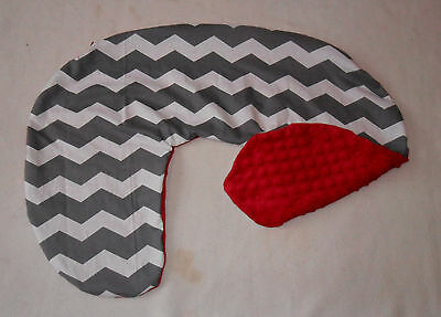 Gray Chevron and Red Minky Dot Nursing Pillow Cover Fits Boppy
