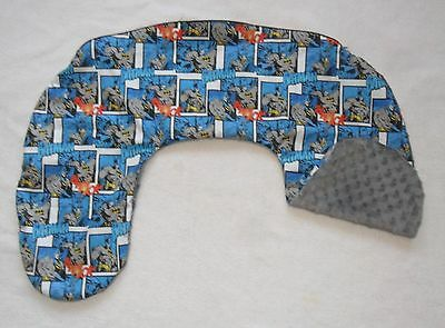 Batman and Gray Minky Dot Nursing Pillow Cover Fits Boppy