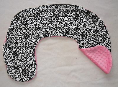 Black Damask and Pink Minky Dot Nursing Pillow Cover Fit Boppy CHOICE OF MINKY