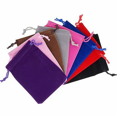 Color Velvet Pouches Drawstrings for Jewelry Gift Packaging, Wholesale Lot of 50