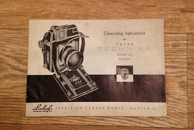 "Linhof SUPER TECHNIKA  2 1/4"" x 3 1/4"" Operating Instructions"