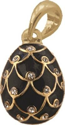 Faberge Egg Pendant / Charm Pinecone with crystals 2.1 cm black #6401-13