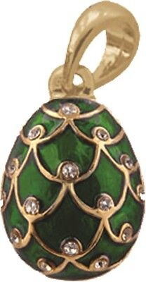 Faberge Egg Pendant / Charm Pinecone with crystals 2.1 cm green #6401-08