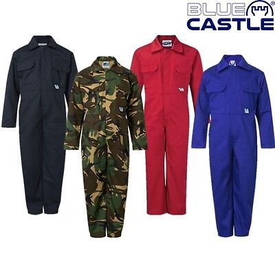 Kids Overalls Age 1 - 13 Yrs Blue Castle Tearaway Boilersuit Workwear Overall