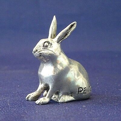 Miniature figurine animal cute rabbit bunny pewter metal gift collectible