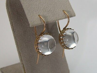 Estate Victorian Crystal Pool Of Light Earrings 14K Rose Gold Antique