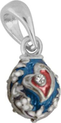 Faberge Egg Pendant / Charm Heart with crystals 1.5 cm #0972-09