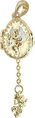 Faberge Egg Pendant / Charm with Angels 2.2 cm cream #0733