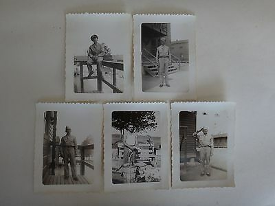 WW II Set Of 5 Black-and-White Photos Of US Soldiers *Vintage*